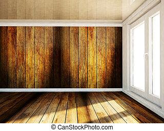 空的房間, 由于, a, 大, 窗口