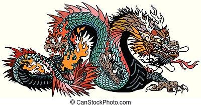 空色, アジア人, ドラゴン
