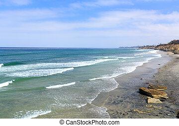 空色, 浜, ca, solana, 海岸