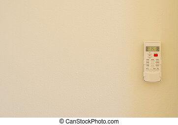 空调器, 遥控, 在上, 墙壁, 背景