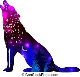 空間, 星系, 狼, 影響, 黑色半面畫像, 背景