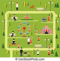 空闲, 在中, 性质, 在中, a, 公众, park.