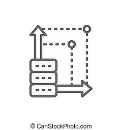 空间, 存储, 服务器, 云, 线, icon., 高级, 更多