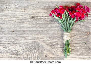 空间, 木制, 结束, 香石竹, 桌子, 复制, 红