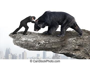 空, に対して, citysc, 黒熊, ビジネスマン, 戦い, 崖