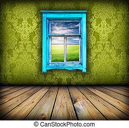 空, の上, それ, 窓, 緑のフィールド, 部屋