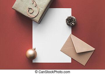 空, カード, 装飾, クリスマス