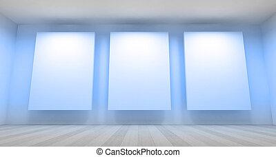 空, ギャラリー, 3d, 部屋