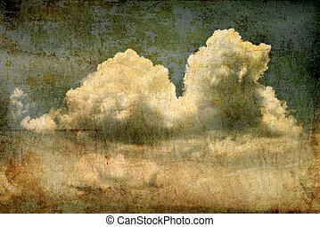 空, グランジ, 雲, 背景