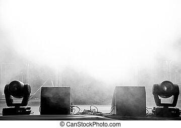 空, コンサート, ステージ, 中に, ライト