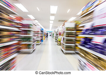 空, スーパーマーケット, 通路, ぼやけ