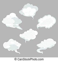 空, セット, 雲