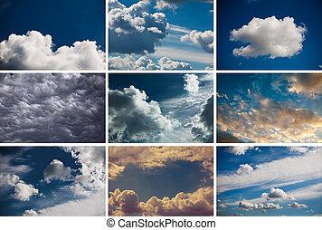 空, セット, 9, 曇り