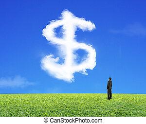 空, ドル記号, 見る, 形, ビジネスマン, 草, 雲