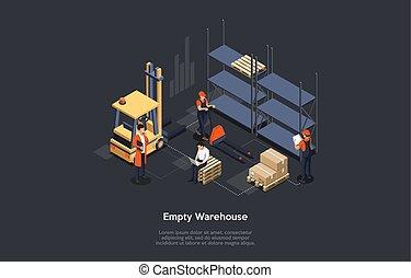 空, モニタリング, personnel., ベクトル, cargo., イラスト, マネージャー, warehouse., 倉庫, 荷を下すこと, プロセス, 仕事, 概念, ローディング, 等大, タブレット