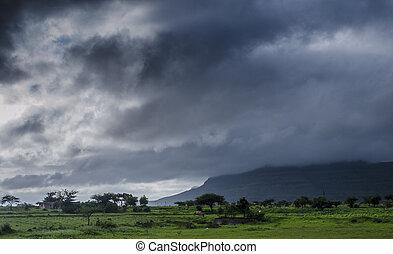 空, モンスーン, 季節, 曇り