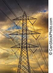 空, ライン, 電気である, 曇り