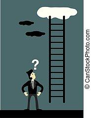 空, 企業である, 行く, はしご, ビジネスマン, の上
