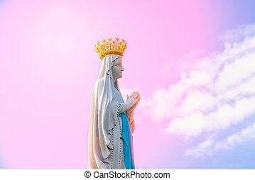 空, 像, 女性, 聖母マリア, バックグラウンド。, 私達の, fragment., フランス, lourdes, ピンク