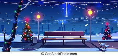 空, 公園, クリスマス, 夜, 光景, 公園