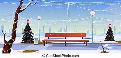 空, 公園, クリスマス, 都市眺め, 公園