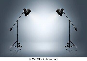 空, 写真の スタジオ, ∥で∥, spotlights., 現実的, ベクトル, イラスト