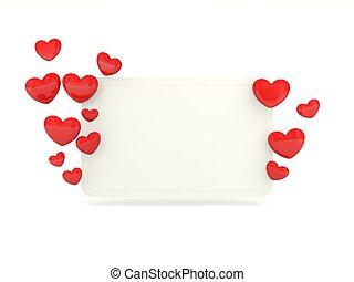 空, 卡片, 由于, 紅色, 心, 被隔离, 在懷特上