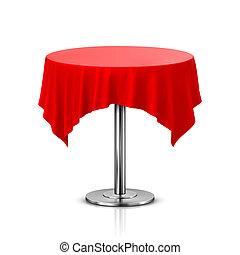 空, 圓桌, 由于, 桌布, 被隔离, 在懷特上, 背景