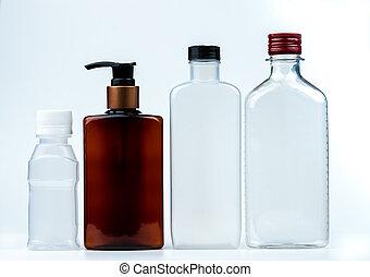 空, 塑料, 以及, 玻璃瓶子, 由于, 帽子, 以及, 泵, 由于, 黑色, 標簽, 被隔离, 在懷特上, 背景。, 配藥, 產品, 瓶子, packaging.