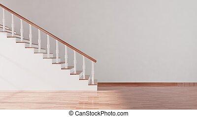 空, 壁, 階段, 部屋, 寄木細工の床の 床, 内部, 白