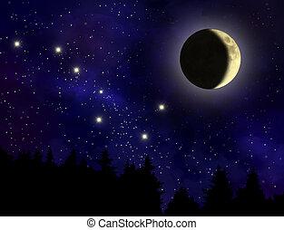 空, 夜, 抽象的, 月