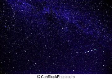空, 夜, 紫色, 撃つ 星, 星が多い