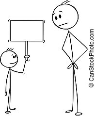 空, 小, 簽署, 藏品, 卡通, 男孩, 人
