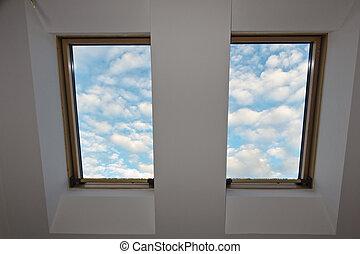 空, 屋根, 窓, 雲