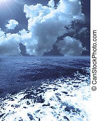空, 嵐, 曇り, 海