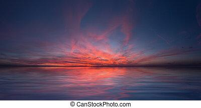 空, 平和, -, 日没, 海, 赤