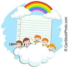 空, 幸せ, 子供, フレーム, テンプレート