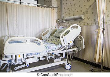 空, 床, 在, 醫院房間