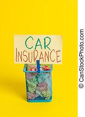 空, 手書き, モーター, yellow., ペーパー, 車, comprehensive, 供給, 屑, 意味, clothespin, メモ, テキスト, insurance., 適用範囲, 自動車, 事故, 大箱, オフィス, 保証, 概念, しわくちゃになった, 戦略