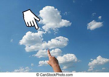 空, 手, 人間, カーソル