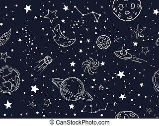 空, 手, 織物, texture., アウトライン, スケッチ, ベクトル, 夜, 宇宙, 星, 壁紙, デザイン, illustration., ペーパー, 星, シンボル, スペース, seamless, 装飾用である, 外の, 引かれる, 包むこと, 惑星, 月, pattern.