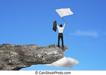 空, 振ること, 元気づけること, 旗, ブランク, ビジネスマン, 崖