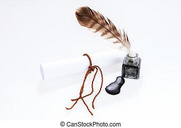 空, 文書, そして, 古い, 執筆, 羽, 中に, インクつぼ