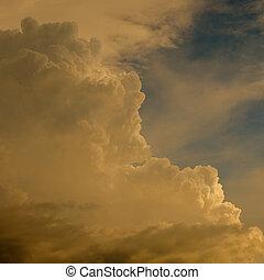 空, 日没, 雲