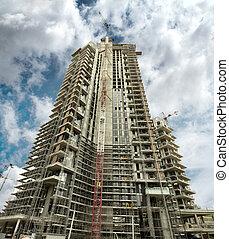 空, 曇り, 建設, 超高層ビル, 下に, クレーン