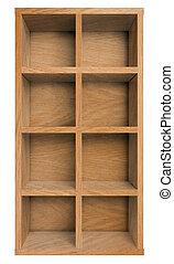 空, 木制, 架子, 書架, 或者, 書櫥, 被隔离, 在懷特上