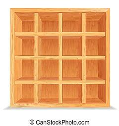 空, 木制, 架子, 被隔离, 在懷特上, 牆