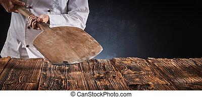 空, 木製である, ピザ, 保有物, シェフ, かい