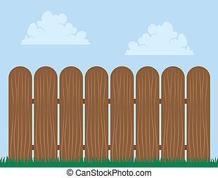 空, 木製のフェンス