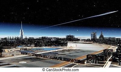 空, 未来派, に対して, 都市, 大気, 星が多い